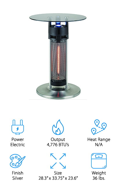 Our final review is a patio heater table, which we think is a pretty neat alternative if you need a small heater! This is another electric-powered infrared heater that uses a bulb that will last for up to 5,000 hours with no emissions. The bulb is encased in the table's stand, with an LED light on top for added light if you need it. The glass top is made of tempered glass, which won't shatter or get overly hot while the unit is running. It's great for setting down a book or mug of hot cocoa without worrying about burning yourself or your drink. It may even help keep your cocoa warmer for a little longer! We also like that it's water resistant, so you can keep it on your porch without worrying about a little rain getting on it! We think this would be a great heater for a small balcony or between two chairs on an enclosed porch!