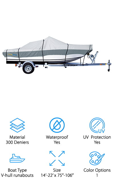 We're going to end our boat cover reviews with this inexpensive and durable cover from PrimeShield. Finding sea ray boat covers and large fishing boat covers that don't cost a small fortune can be tricky! They need to be large enough to not only fit the boat, but also fit any seating, framing, and other fun accessories that add major height! We like that these covers come with extremely wide beam widths for their length, which means they'll cover everything securely. In addition to the elastic hem around the bottom for a snug fit, they also have the straps sewn into the cover, which means the straps won't slip or slide, even while zipping down the highway. The fabric is also meant to withstand rain, UV rays, and cold temperatures, so it's perfect for storing your boat outside in the winter! We think that for the price, this is a great cover to handle your small boats with tall accessories!