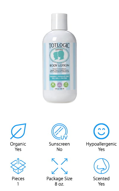 We are going to end our baby lotion buying guide with our pick for the best natural baby lotion from TotLogic. This is an all-natural baby lotion made of ingredients that are familiar, vegan-friendly, and cruelty free. We like that we recognize most of the ingredients on the list – no unfamiliar complicated chemicals here! TotLogic's baby lotion uses vitamin E, sunflower oil, aloe, coconut oil, and olive oil to keep your baby's skin soft and smooth. This hypoallergenic lotion uses natural fragrances like lavender, bergamot, and chamomile for a calming effect. It also uses wild mint, basil, and lemon peel oils to add a light, refreshing scent as well! We also love that this lotion isn't just for babies – you can easily use this on toddlers and younger kids too! It's a great lotion for the whole family, to be honest! They also make vegan shampoo, conditioner, and even a vegan-friendly bubble bath for kids to enjoy during bath time!