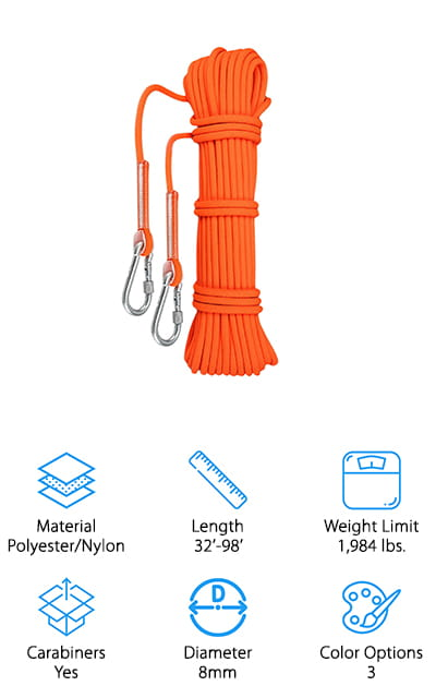Our next climbing rope comes to us from Kissloves, and it's a great all-around rope. This isn't just great for rock climbing – you can use it other activities like parachuting, hiking, camping, fire rescue, caving, and more. It even makes a great lanyard, or you can use it to hang a swing in your backyard! It comes in 4 different lengths, so you can buy as much as you need. It also comes with loops on both ends and 2 carabiners to get you started. We like the almost 2,000lb. weight limit and lack of stretch, making it incredibly sturdy and safe for climbing, towing, and hanging heavy objects. Another bonus? It's incredibly lightweight, so much so that it will even float in water! With 3 colors to choose from, you can buy one to match your kit, or contrast well with other ropes you already own! This is another great, affordable rope that can handle just about any task!