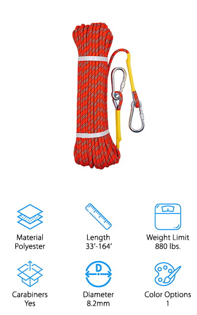 The final product in our climbing rope buying guide comes to us from Tresbro, a trusted brand in climbing gear. This is another great all-around rope that is made for a variety of activities: fire rescue, rock climbing, hanging equipment, hiking, camping, and much, much more! We like that it comes in 4 different sizes, ranging from 33 feet to 164 feet. You can buy a smaller size for a tree swing or camping gear, or grab a longer length for climbing! It can hold 880 pounds, making this a great rope for lifting heavy camping or rescue gear. Both loops have metal thimbles to keep your carabiners hooked in securely – with 2 solid iron carabiners to get you started! The ends are also sewn into the rope and covered with a shrink-wrap to keep from fraying or coming undone. It also comes with a bag to carry everything, making it perfect for stowing away in your backpack or gear!