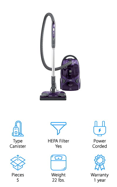 When looking for the best vacuum for tile and carpet, we also wanted to find some canister models that handle the job well. This one from Kenmore is great – it has 2 motors with a HEPA filter, making it a powerful tool for any flooring surface. For a professional-grade clean, this comes with 2 brush heads – one for carpet and rugs, and the other for hardwood and tile. It also has attachments for crevices and a brush for pet hair, all of which is housed securely in the canister for easy access. The 28-foot retractable cord is also a plus, making it easy to clean large spaces without wrangling a long, cumbersome cord! If you prefer disposing of dust and debris with a bag, this vacuum keeps everything safe and secure – just switch out the bag when it's full! If you're looking for a professional-level clean for your large home, definitely check out this canister vacuum for your home's floors!