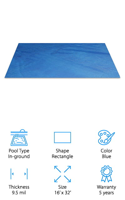 Thermo-Tex's Solar Pool Cover is great for extending your fun in the sun! Use it a month before summer and a month after to increase the time spent in your pool. By keeping the water heated, keeping debris out, and reducing the evaporation weight of the chemicals used to maintain your pool, this cover lowers operating costs. It also cuts the time it takes to maintain your pool quite a bit! The cool thing about this cover is that it's easy to remove when you want to get in the water, and easy to replace when you're ready to leave. This cover is made of polymers that are resistant to UV light, preventing degradation of the materials and keeping your cover working season after season! That's why it's called a 5-year cover – it can resist damage by the sun for that long. We thought that was pretty impressive, considering most other covers last a few seasons at most.