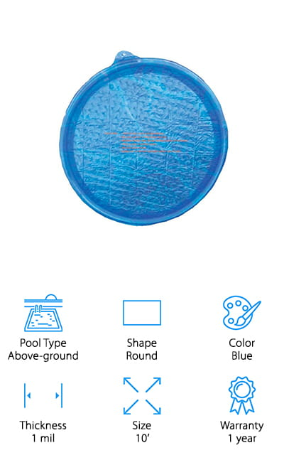 This round solar cover by Sun Ring is perfect for round above ground pools that are 10 feet or less across. This means they have a 5-foot diameter. This pool cover has got to be the most sophisticated on our list! Instead of just floating on the water, this cover has magnets to help attach it to the sides of the pool and increase efficiency while it floats. Additionally, this is the only cover on our list to be compatible with automatic cleaners! It's a pretty amazing blend of solar power and technology! The lower half of this cover, or the part that goes into the water, is 50% frosted. This means greater heat retention! With the coverage this provides, the 1 mil thickness, and that lower layer, this solar cover is amazing. The best part? It's a perfect fit. You won't have to buy a 16 ft round solar pool cover and trim it to size!