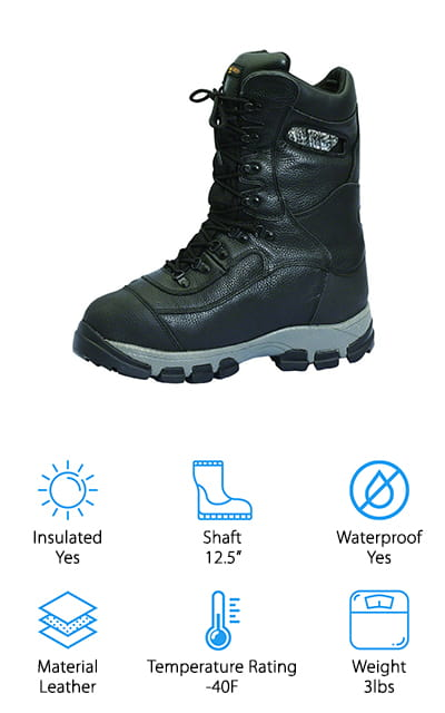Ice Armor's Onyx Boots are the perfect extreme weather footwear you've been looking for! They're solid black and more stylish than a lot of the other boot options on this list, making them a perfect for women's ice fishing boots. The upper portion is made of leather, which is waterproof and comfortable around your ankles. There are pull-on handles built into the boot just below the upper lip. They look so natural it doesn't at all detract from the boot's aesthetic. The midsole is made of EVA foam, so it is comfortable and supportive. One of the best parts is the boot itself. The shell is made of leather, but the inside sleeve is made of a waterproof, breathable membrane. No moisture will stay on your feet or socks with these boots! On top of that, there are five layers of Thinsulate insulation to keep your feet warm at a - 40-degree heat rating. We think that's pretty amazing!