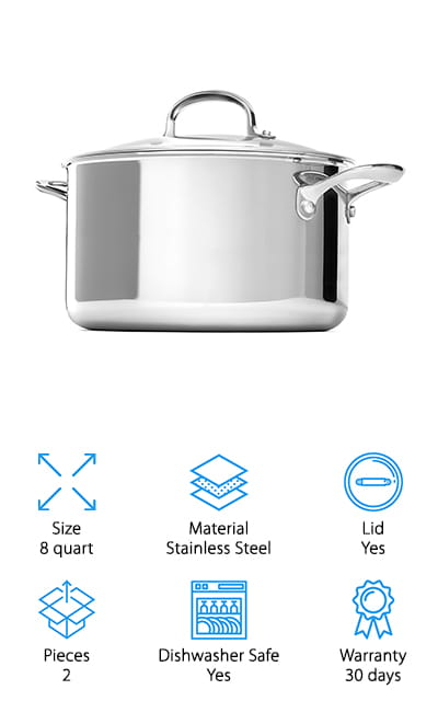 This company is a well-known name for kitchenware, and this OXO stock pot is no different.  It has a scratch-resistant surface that is safe to up to 430 degrees. Why so different than the other stainless steel pots on our list? This pot is made of three layers. An aluminum core that radiates heat is nestled between two sheets of stainless steel, making it heat evenly and effectively, as well as making it stand up to higher levels of heat. It works on all stovetops and in the oven. The edges of the rim are rolled, so you can pour soup and broths out of the pot without worry about them dripping all over the pot and your countertop. We are confident to call this one of the best 8 qt stock pots we looked at! It's made of professional grade materials, and it's safe in the dishwasher and all other cooking and cleaning activities.