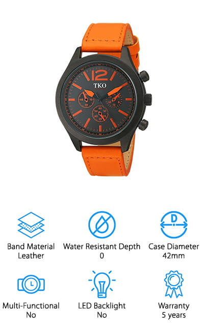 The Aviator watch by TKO looks amazing! The face is a matte black with an orange leather band and orange hands and ticks for the time. It doesn't display any numbers, just dashes for the different hours, which makes it look sleek in our opinion. So you want a simple watch that doesn't take much fussing to get going? This is the watch for you. The subdials on the side of the watch are just there for looks – part of the reason that this watch is such an amazingly affordable price! This watch is masculine and artsy, with minimal functions to keep it simple when you're working! It definitely deserves a place on our list of good rugged watches. In addition to being able to stand up to anything, the colors are vivid and nice! We love the way it looks and feels, not to mention the large face and crystal-clear display window.