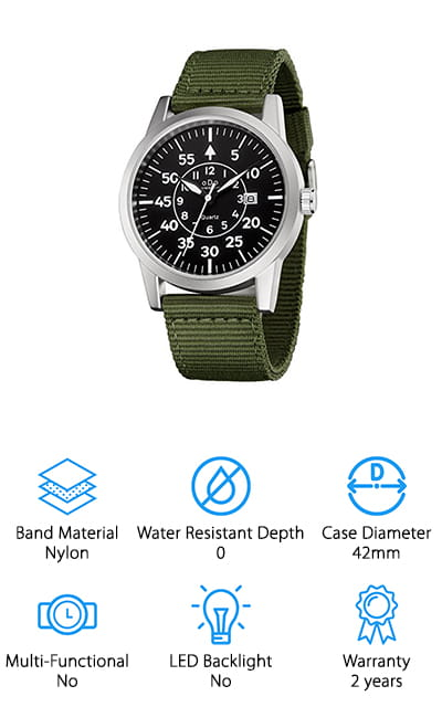 We couldn't have a list of the top rugged watches without including this one. The CheersCase Special Forces edition watch looks as sleek as it performs! The band is an army-green nylon, which pairs really well with the silver of the case and accents on the face. The band is comfortable and breathable, so you can sweat without it getting under the band. It's resistant to scratches and the battery will last at least two years. If it doesn't last that long, there's a 2-year warranty to replace or refund your money. What have you got to lose? While this watch isn't meant to be submerged in water, it's sleek enough that you wouldn't want to anyway! It's got a military aesthetic that matches its name, and a classic, small-text analog face. And with a price so affordable, there's no reason not to try it out! Be the envy of all your guy friends with this watch!