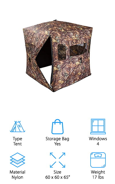One of the best things about the Rage Powersports Hunting Blind is that it was made to help you make the most of your natural surroundings. Just use the integrated loops to build up twigs, branches, and leaves to add even more camouflage. This is also the only blind we reviewed so far that has a removable roof so you can use it for duck hunting. In all, there are 4 large viewing windows and 7 mesh, shoot through windows for archery. There are flaps inside to cover each window if you need to contain your scent quickly or if something is approaching and you don't want to risk using the zipper. It comes with 8 ground stakes and 4 tie-down straps for stability and packs into a hands-free carrying bag for convenience.