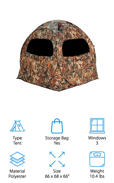 Last up in our best box blind for deer hunting reviews is the Territory Terminator Blind. First of all, it has an awesome name. This blind is really easy to set up and can be ready in less than a minute. It also collapses nicely for transport. It comes with a backpack style case with straps and a zipper for easy transport. There's enough room for 2 hunters with some room left for gear. There are 3 large mesh windows that have a smaller square section in the center that you can open if you need more cover. There's also a large door for easy access that really comes in handy if you're sharing the blind with another hunter. That's not all, it's also made of 100% polyester and is somewhat water resistant.