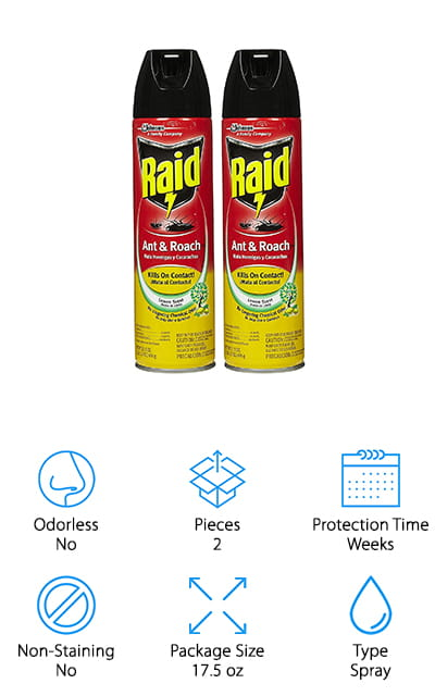 Next up is Raid Ant & Roach Spray. Raid is a well-known brand when it comes to pest control. In fact, this isn't even their first appearance on our list. This is actually a 2-pack of sprays. Each is 17.5 ounces so you're really getting a lot of treatment. This formula kills on contact and has a residual action of up to 4 weeks. So, these 2 bottles should last you a really long time, even if you have pretty regular infestations. Spray it onto surfaces where roaches or other pests are infesting. It's effective in small cracks and surfaces, too. This product has a fresh lemon scent when you spray it but it doesn't have any lingering chemical odors after use. For a well-known and effective best roach spray for sale, this is a great option.