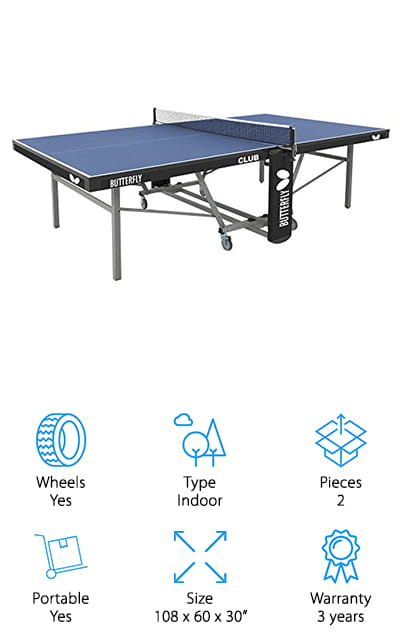 "The next item in our ping pong table reviews is the Butterfly Club Table Tennis Table. The top is 1 inch thick. It's regulation size and gives you a professional level bounce. It's suited for high level playing and is a really good choice if you're looking for a table for a club or rec center. The frame consists of 2 ?"" square steel legs and has large, 4-inch locking wheels. You can adjust the height to keep the playing surface level, too. It folds in half for easy storage and, get this, you don't even have to remove the net. When you're ready to play again, just open it up and the net's already in place. This table has the longest warranty on our list. It was made in Germany and built to last."
