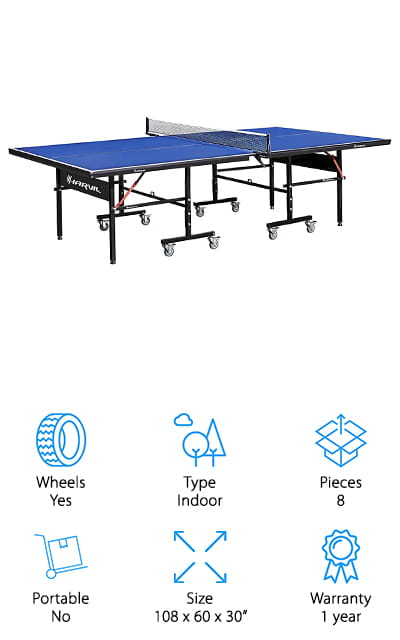 The Harvi I Table Tennis table is our final top pick for a home ping pong table. It's built very solidly with a sturdy wooden tabletop and a powder-coated steel frame. This is a regulation sized table that can also be used for solo playback. Just fold up one side and you're ready to practice. The whole table folds in half for easy storage and the 8 casters make it simple to move it from one room to another. There's even a safety locking mechanism to keep it in place when it's folded. The net and posts are included. We have to mention the warranty on this one because it's pretty great. If you're not happy, you can get a full refund for up to 1 year. Or, they'll repair or replace anything damaged, right in your home.