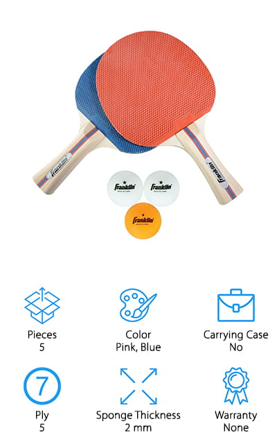 Last up on our list of top notch ping pong paddles for sale is the Franklin Sports Paddle Set. This set includes 2 paddles and 3 standard size balls. It comes packaged nicely in a compact box and would make a really good gift for players of any level. These paddles have thick, high-quality rubber sponges that give you a great spin on the ball. That's not all. The 5-ply wood blade packs a lot of power and helps you work on increasing your speed. The handle has the popular flared design that's ergonomic and helps you maintain control over the ball. These paddles have a retro look. They have pink rubber on one side and blue on the other. The light wood grain is complemented by a simple striped design down the center.