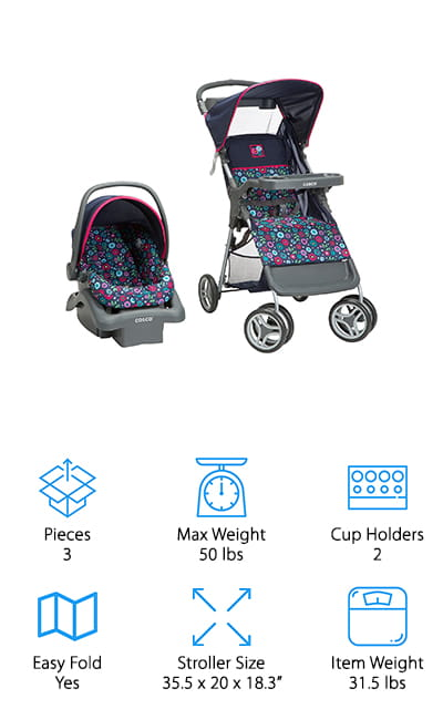 The last product in our stroller system buying guide is the Cosco Lift & Stroll Travel System. It features a car seat that can hold your little one up to 22 pounds. It has a 5-point harness with straps that easily adjust as your baby grows from a newborn. The car seat is one of the lightest available and weighs less than 7 pounds. That's not all. The stroller included in this system has a 3-point harness to use once your baby outgrows the car seat and can sit up unsupported. This is a simple lightweight stroller that has a 1-handed folding mechanism. It features a parent tray with 2 cup holders and a space to keep small things when you're on the go.