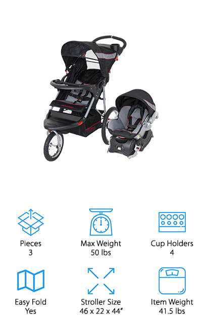 If you're looking for the best jogging stroller travel system, Baby Trend's travel system is the way to go. Because this is a jogging stroller, it was designed with 3 wheels. The front wheel swivels when you need to maneuver around but locks straight for when you're taking your baby for a jog once they're a little older and out of the car seat. Plus, the all-terrain tires can handle a little more bumps than regular tires can. This stroller features a parent tray with 2 cup holders and covered storage. Plus, the baby gets a tray, too, with 2 cup holder. The seat reclines in multiple positions so your little one will always be comfortable riding in the best all terrain stroller travel system.