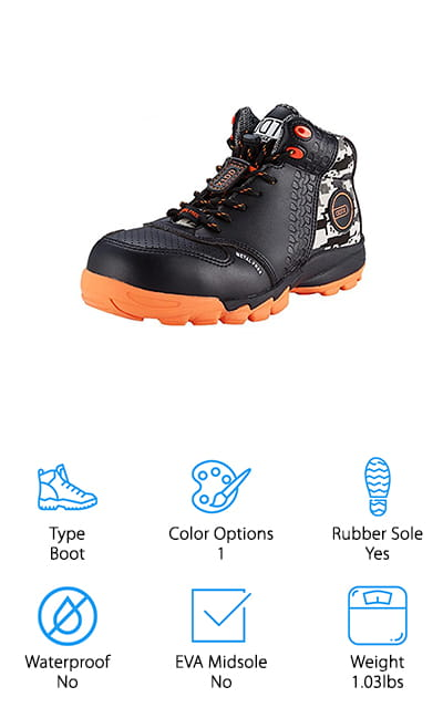 DDTX's composite boots look amazing, first of all. They're a mostly grey and black shoe with bright orange accents that really stand out! And what's even better? They're extremely comfortable. You won't even need to purchase insoles when you're wearing these shoes. There's a sizing chart so you can get your perfect fit – a must for work boots. The sole is rubber and made to resist punctures and static. These boots are beefy without having any metal components at all – which also leads to them being incredibly lightweight. They are a boot, without doubt, but they weight just about the same as an athletic shoe. That's amazing! The uppers are made of leather and fabric – the top part is water resistant. Otherwise, they are breathable due to the mesh and fabric of the middle of the shoe. They are great for work in warehouses and other dry environments. These are some amazingly comfortable work shoes for men.