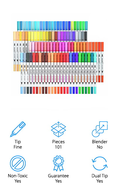 If you're looking for a whole lot of pens in one set then this is definitely what you want to look at. You'll get 100 dual tip markers of all different colors and shades to make your coloring, your calligraphy and any other projects you want even more fun. They have a fine tip that's 0.4 mm and a wider tip that can get you between 1-2 mm. It all depends on the level of pressure that you put on the pen as you're writing or drawing. There's even up to 200 meters of ink in each pen so you can get plenty of work out of them. These non-toxic pens are also odorless and water based. That means they're easy to clean, you can create watercolor designs and you can feel comfortable using them around your children as well. There's even a box included to store everything in and a money back guarantee that says you're going to love them or you're going to get a full refund.