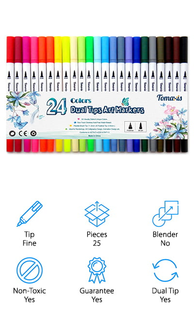 These inexpensive markers come in a set of 24 and offer you dual tips so you can get a super fine line or something a little thicker and more decorative. In fact, the lines can be anywhere from 0.4 mm up to 2 mm based on how you use the pen and the amount of pressure you use. The quick drying ink is designed to make your project much easier and the acid-free, non-toxic aspect of the pens means that they are safe for use even for younger users. Plus they don't skip, smudge or bleed through the paper that you're writing on. The case included is small enough to take up very little space but still large enough to hold all of your pens easily. These markers have flexible tips to make those different lines even easier and could be one of the best brush pens for sale. The range of colors is just what you need in order to show off your art skills (or improve them a little more).