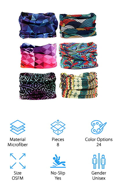 You're going to have some great options when it comes to these fun headbands. You get 8 pieces in each set and each one is different colors to give you some great, super fun patterns. These bands are large, which means that you can use them as headbands, neck warmers, balaclavas, caps and a whole lot more, up to 12 different options. The bands provide sun protection as well as keeping your face dry and free of sweat. They can be worn by anyone of any size because they stretch just right and then shrink back down. You'll even get a 3 month money back guarantee that says it's going to last and it's going to make you happy. They even do custom orders for different sets and designs so you can make sure you have everything you're looking for and plenty of bands for all of your activities.