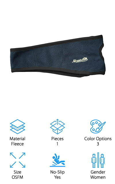 This headband comes in three different colors so you can get something you'll love to show off. Plus, it's made with warm fleece that keeps you more comfortable when you're out, even in colder weather. It has a contoured design that fits high over the forehead and covers your ears at the same time. It also has an opening through the back so you can put your ponytail through it easily. That means your hair stays out of your face easily and lets you continue with your workout for as long as you want. The design is moisture wicking and keeps sweat from getting in your eyes or your ears from getting cold. Even better, it's not too warm to keep you from being able to use it in the warmer weather. It's designed to last and comes with a full refund guarantee that says you're going to love it.