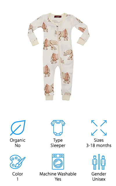 Made entirely from rayon from bamboo, this cute little set of pajamas features some fun elephants that your little one is definitely going to love. It has a zipper front that makes it easy to get them on and off or to change diapers as needed and it has elastic around the feet and hands to keep your baby snug and warm. Available in 4 sizes from 3-18 months, it's a great outfit for your little boy or little girl. All you need to do is slip it on and you'll definitely see why it's such a great choice. These sweet bamboo baby clothes even comes in their own bag so you can give it as a gift or carry anything else that you and your little one might need on your next outing. It's definitely a great bonus for something super cute and super soft at the same time.