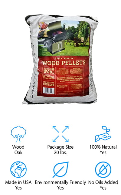 Our final option is a bag of pure oak. If you're looking to start smoking or grilling with flavor then oak is the way to go because it's an all-around flavor that works for just about anything. These pellets are 100% oak and are clean burning, giving off very little ash, which makes them safer for the environment. Made entirely in the USA, this bag of pellets doesn't contain any kind of oils, glues, chemicals or artificial flavoring. You'll love that they are consistent so every time you burn them you're going to get the same flavor and the same level of smokiness. That's definitely going to improve your grilling and make you never want to go somewhere else for barbeque again.