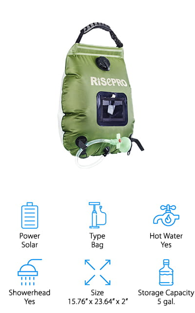 RISEPRO Solar Shower Bag