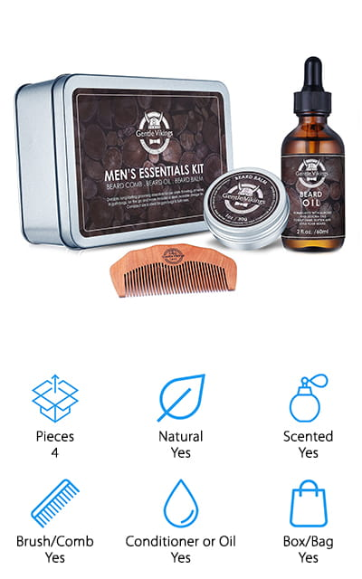 This tin comes with the beard oil and beard balm that you need to keep yourself looking and feeling great. First, you get ingredients that are all natural and organic, which are also formulated in the United States. These include sweet almond oil, jojoba oil, hemp seed oil and vitamin E, all of which give you more moisturization, nourishment and smoothness while reducing splitting and dryness. With the oil, you get a dropper that keeps you from using too much but does keep your hair and skin hydrated and soft. The balm gets rid of frizz as well as making the grooming process a whole lot easier. With a comb to complete the set, you won't need to worry about anything when it comes to your morning routine. Plus, since it comes in a tin, you can keep everything together or give it as a great gift.