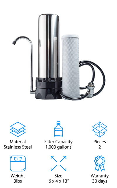 Our best countertop water filter reviews wouldn't be complete without including this Lake Industries Water Purifier! The company boasts that this filter removes about 97% of chlorine and other chemicals that have a bad taste or bad odors. That's the power of the 10-micron carbon block filter! It takes the water directly from your kitchen sink and removes all of the organic contaminants, leaving your water tasting great! It's perfect to use for cooking, or for making tea and coffee - don't take the risk! Cook without the chemicals just in your water. The filters are inexpensive and easy to get online, making this a long-term investment that will pay off before you even have to replace the filter. This thing looks sleek, as well – it's a large stainless steel machine that will look great on any countertop. You don't have to sacrifice function for style! Try it out today to eliminate your water bottle costs and help the environment!