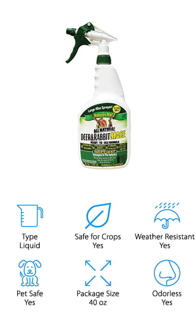 This liquid rabbit repellent spray is ready to use and doesn't require any mixing because it isn't concentrated. It's made with completely organic ingredients, so it's safe for edible crops and for use around your pets and kids. It lasts a really long time, due to the formula. It has three times the active ingredient that the competitors use in their formulas. We love that it's safe to use in vegetable gardens without worrying! And if you aren't completely satisfied with the way this product works, the company backs it with a one hundred percent money back guarantee! That's how confident they are that it's going to work. It uses a mixture of fear, scent, and taste technologies to keep your plants from being browsed. What's even better is that this spray treats about 1,400 square feet of your garden or lawn. Get your long-lasting, widespread protection from Nature's MACE. There's no harm in trying it out!