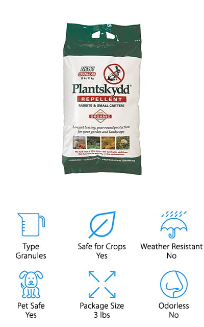 These Plantskydd granules are one hundred percent organic, biodegradable, and also works as a fertilizer! They come in a 3-pound shaker bag so you can apply them evenly without having to touch them – which is probably a good idea, even if they are nontoxic. They are completely made of dried pig or cow blood. Most mammals are repulsed by the smell, so they will keep away from your garden when you use these! You shouldn't let these granules touch the edible parts of your plants, but only because they will so badly affect the taste. They are said to work on rabbits, voles, chipmunks, squirrels and other small rodents, though larger amounts can also work for deer, moose, or elk. Due to nature, it's a good rabbit repellent for grass. And there's enough in this bag to cover 1800 square feet. So many people have had tons of success with this repellent, so we couldn't help but recommend it!