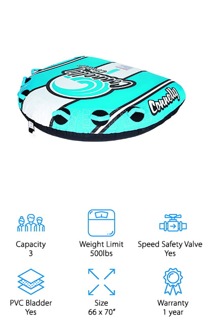 Connelly is one of the most trusted names in towable tubes – and they make a lot of different types. This particular model is a deck-style tube, meaning that has more surface area for more fun and better water coverage, as well as having a low center of gravity that reduces rolling. It tapers, with a larger front and smaller back, which reduces drag and stabilizes the tube so it has a harder time flipping over. We love how technical and thoughtful the design of this tube is! You can ride it from multiple positions for multiple fun! The speed valve lets you get on the water quickly, and you just have to hook it to your boat to get the fun started! The disc design increases speed, and it has a nylon cover to prevent damage. It even comes with a repair kit! All this combined makes it one of the best towable tubes for sale!