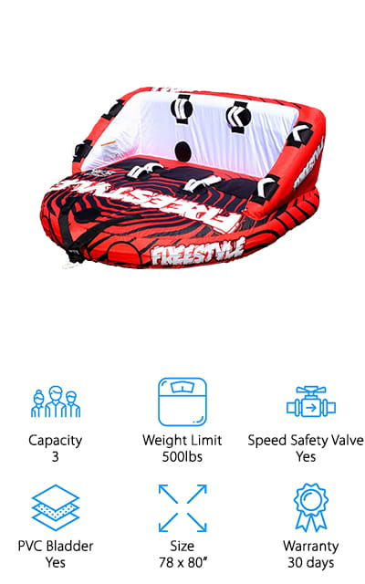 The Freestyle Squad Towable Tube is such a funky design, you're sure to be the talk of the water. It's fully covered in nylon and pulls in two different directions so you can ride it however you like! There are 16 handles along the tube with EVA knuckle guards. You can ride in the kneeling positions, prone, or seated on the comfortable foam pad that makes up the bottom of the tube. There's even a backrest so you can lounge on the water! This is such a versatile tube. You can tow it from the front or reverse to give your riders the best time. The cover is fully made of double-stitched nylon, and the handles have double-webbing to keep them secure. There are even EVA knee pads for when you're kneeling, to keep you comfortable no matter how you want to have fun! We love how quick and easy it is to connect the tow system!