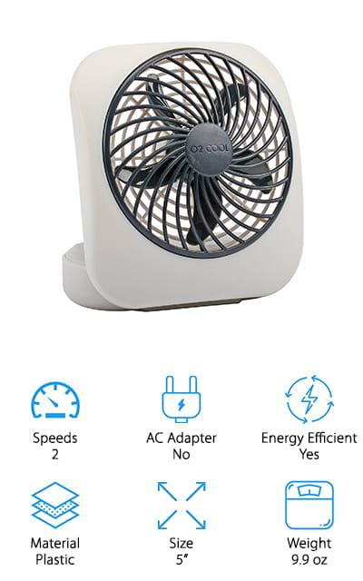 O2COOL 5-Inch Desktop Fan