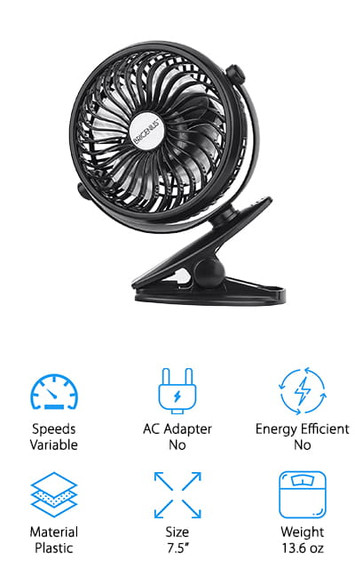 The BriGenius Clip On Fan has a very unique design. Its powerful, fashionable, and portable. It could be one of the best doorway fan/battery operated fan that is also compact enough to take with you on a camping trip. The high-quality motor has a max wind speed of 75 feet per second and a low noise output. The batteries are both replaceable and rechargeable via USB charging. You can also use a power bank and other USB charging sources. The clip allows you to put it anywhere you want whether it's the backseat of a car, on a tent, in a doorway, and so much more. You can adjust the speed with the small wheel in the back for stepless speed regulation. Overall, this small and portable clip-on fan is powerful enough to give you the breeze that you're looking for on a hot day no matter where you are.