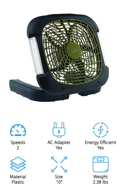 If you're looking for the best 10-inch battery operated fan for camping, this one could be it. It's a little on the heavier side, but the air output is great. The reason that this may be the best battery operated fan for camping is because of its size and features. If you don't have power where you are, you can simply run it off of batteries. If you do have a power source, you can simply use the AC adapter for non-stop air. The energy efficient fan blade extends the battery life while giving you a maximum output of airflow. The fan also comes with a built-in handles that allows for easy carrying and storage. There are two different speeds that you can choose from and the speed you use depends on how long the battery will last. On the sides of the fan, you will also find LED lights in case you need emergency illumination.