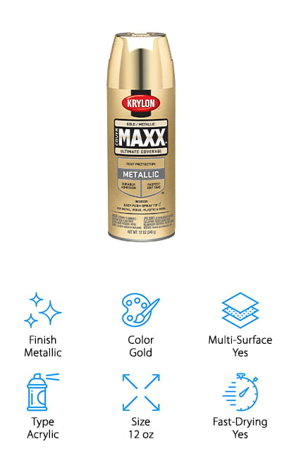 The Krylon COVERMAXX spray paint is actually a paint plus a primer, which means you don't have to buy a separate primer to use before the regular paint. It is ideal for indoor and outdoor use on multiple types of surfaces such as plastic, metal, glass, and more. It has a 10-minute or less drying time, which is ideal for when you need a project done quickly or you need more than one coat and you're in a hurry. On the top of the can is a conical easy push spray tip that allows you to spray surfaces with more precision and comfort. For the price, you are going to pay for this, it makes for a good value. This is an attractive color and the finish is beautiful.