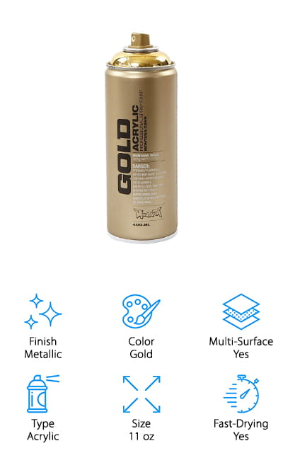 If you're looking for the best gold spray paint for metal furniture, consider Montana GOLDCHROME spray paint. This is a gorgeous acrylic-based spray paint that works on all kinds of surfaces including wood, plastic, glass, and metal. This fast-drying paint brings you fantastic opaque coverage of pure color and the spray cans are easy to use. They come with a level cap system that allows both high and low pressure performance in one can. All you have to do is switch the cap and you can either have high or low pressure. Artists can go from thin lines and fine details to filling large areas. This paint is 100& lead and CFC free and there is a colored ring on the top of the cap that shows what color is inside. This special formula allows an easy use for working with mixed media. It definitely has some great value to it.