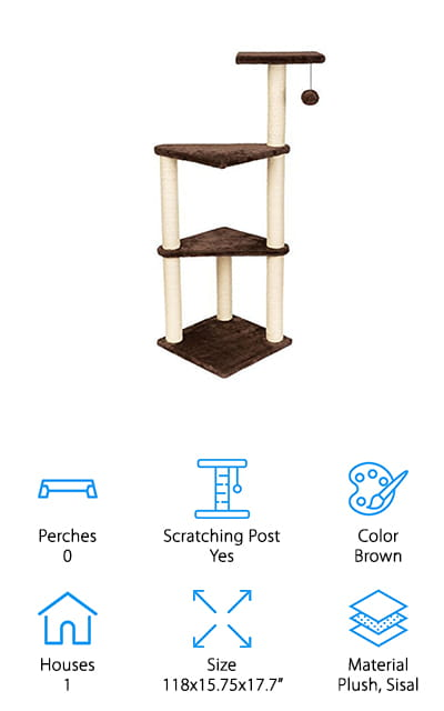 The Hollypet Cat Activity Tree is one of the best cat towers for large cats on this list. This cat tower features one house down at the bottom where your cat can go and sleep or relax without being disturbed because we all know how cats hate to be pestered. The nifty activity tree features two hanging balls for them to bat around and sisal rope for scratching. This can help save your furniture, laundry, and anything else that your precious ball of fur may scratch when they are bored. This activity condo only weighs a mere 7 pounds, so it's very easy to move from room to room. On top of the house, there is an area where your cat can relax without having to be inside of the house. This is best when placed in the sun so they have a place to sunbathe because we all know how cats love to lay in the sun.