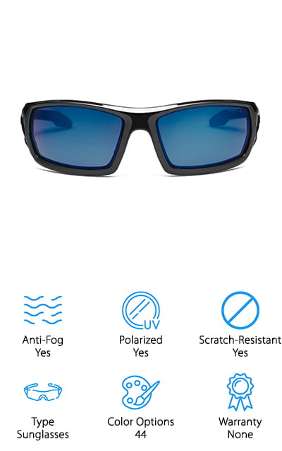 First thing first, these glasses have 44 different color options with a combination of fog-proof and polarized, meaning you can pick a pair that has the feature or one that doesn't. So just remember that you can pick between the two. Now, the Skullerz Odin Safety Glasses are some of the best safety glasses for anti-fog and anti-scratch that are on this list. They feature a durable, flexible, and lightweight full frame construction that offers you a comfortable fit. There are rubber nose pieces that prevent the glasses from slipping off of your face while you are trying to work. They also resist sweat, which is a pretty cool feature. There are also optional foam gasket inserts that help reduce dust and debris entry or for converting it into a goggle by adding the strap. These are both sold separately. These help protect your eyes from harmful UV rays and can be used for a variety of activities.