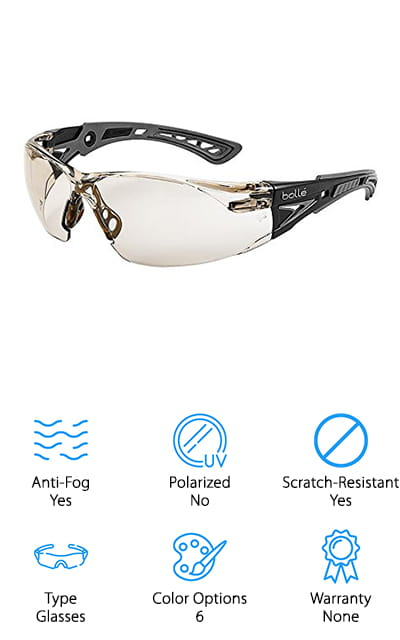 Last up on the list is the Bolle Rush+ Safety Glasses. These come in six different colors such as light amber, smoke, twilight, clear, grey and clear. These, like most of the others, are scratch-resistant. This adds to the longevity of the product and also will help you to see better rather than having to look through the scratches. These are also fog-proof so that you can work in both moist and dry areas without the glasses fogging up. The lenses also have 99.99% UVA and UVB protection, so your eyes will be protected from those harmful rays if you are working outside. The glasses are also equipped with co-injected and ultra-flexible temples for long wear without discomfort. Overall, these are some of the best safety glasses for anti-fog on the list and they are very comfortable and lightweight.