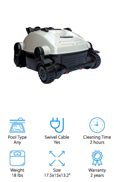 Last on our list is possibly the best robotic pool cleaner for leaves and other fine debris thanks to the extra-large filter bag capacity. This unit only cleans the floor of the pool and is designed specifically for above-ground pools and in-ground pools up to 14x28x6' deep. It comes complete with intelligent navigation and does not require walls to change direction. This vacuum can clean all surfaces including vinyl liners, fiberglass, and concrete pools. The quick drain system is ideal for lightweight removal from the pool. There is a 40' power cord that helps the robot move effortlessly across the bottom of the pool. The brush-to-port suction helps remove acorns, leaves, and other fine debris and there is a direct-drive motor for better traction. It is ETL, CSA, and CE approved and has an automatic 2-hour shut-off and a generous two-year warranty. This machine only weighs eighteen pounds and can clean your pool in about two-hours.