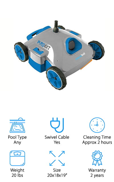 "The Pura 4x Pool Cleaner can be used in both above and in-ground pools with all shape and surface types. It has an all feature/function method of propulsion and the hydro-robotic technology cleaning area has a 6"" minimum cove radius. There is a top cover for easy access to the EZ clean filtration system and a 40' detangler cable that has a turning lock for three directions for the never stuck system. It also features a timer and auto shut-off to save the motor. There are two fixed scrubbing brushes front and back that clean the pool floor with ease. Thanks to the hydro-robotic technology, the PURA 4x can propel through the water automatically on surfaces. It helps to loosen up dirt and debris that may be stuck at the bottom of the pool floor for optimal cleaning. It is a top contender for the best rated robotic pool cleaner at a decent price that won't completely break your bank."