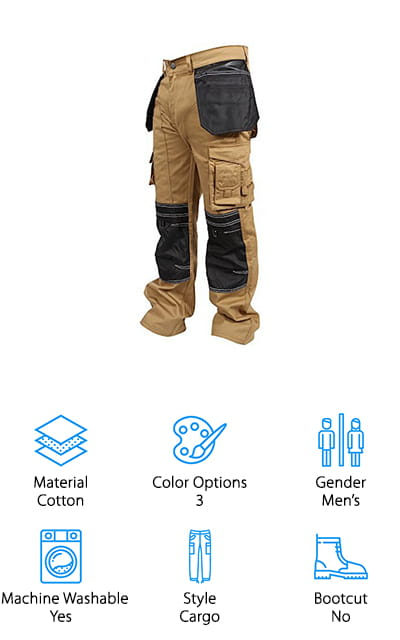 For the best work pants for sale that are versatile enough for a lot of trades, take a look at the Newfacelook Cargo Work Pants. They're made of 100% cotton with reinforced Cordura knees. Since the knees are usually one of the first places work pants wear out. By reinforcing the knees with something so durable, you can expect these pants to last a long time. Another great thing about them is they have so many pockets. Not only that but some of them are oversized and reinforced so they'll have no problem carrying your tools. There are even knee pockets where you can add in knee protection if you want. These pants are ideal for any kind of construction or heavy duty work. They're available in 3 different colors and various sizes and lengths, too.