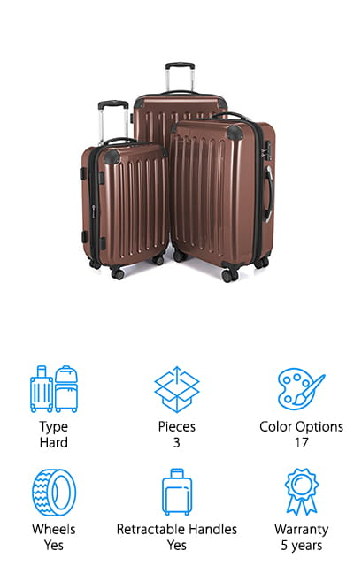 If you want a great set of hard luggage, the best 3 piece luggage set is the HAUPTSTADTKOFFER Luggages Set. One of the best things about this set is that they can be stored nested inside one another. As far as travel goes, they have a lot of great features. They're made of polycarbonate so they're more durable and will last longer than other sets. Each suitcase in this set has 4 multi-directional wheels that glide smoothly and solidly around the airport. It also has a TSA combination lock that has a resettable code to make it a little easier to get through security quickly. There are a lot of color options with this set, too. You can choose from 17 different shades that range from light and dark neutrals to very bright and even camouflage.