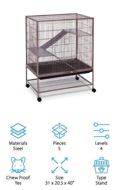 Next up in our rat cage reviews is the Prevue Hendryx Rat Cage. It's a sturdy, strong cage that's meant to withstand years of use. The ramps and platforms are all made of chew proof, perfectly spaced solid metal. The large front gate is equipped with a wind-bell lock that gives you a lot of protection against escaping pets. There's also a smaller door on the roof if you need to do some quick maintenance or care. As far as cleaning goes, it's pretty simple. Just slide out the plastic tray, empty, and wash. There's also a shelf on the very bottom, below the cage, where you can store extra food, treats, or supplies. The most unique thing about it is the finish. The dusted rose color and hammerstone finish give it an interesting look.