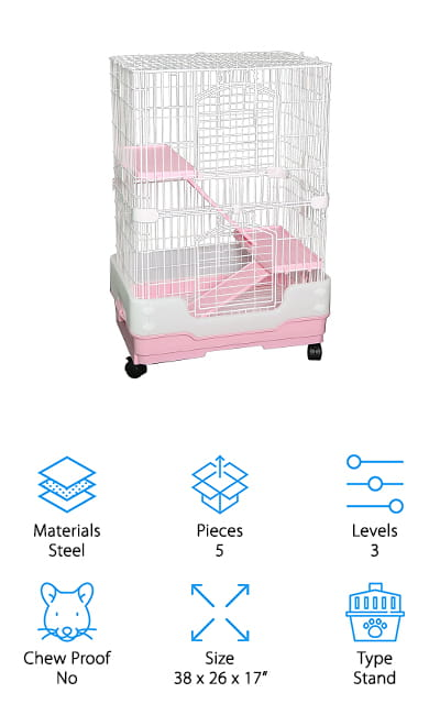 Our last pick for best rat cage for sale is the Homey Pet Small Animal Crate. The white steel wire cage is spaced about ¾ inches apart, an ideal size for rats. It's powder coated for extra durability and rust protection so this cage will last a really long time. One of the best features about it is the casters. The lockable wheels let you easily roll it anywhere. So, you can take it from room to room or just move it out of the way when you need to sweep underneath it. The pull out tray is easy to clean plus the plastic base keeps your pets out of the mess. It's really easy to assemble and no tools are required. And get this: it's available in pink, brown, and blue.