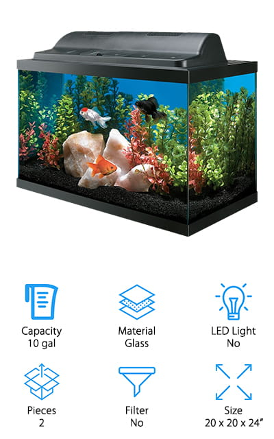 This 10-gallon aquarium is completely made of high-quality glass. The seals are solid, so you won't get any leaks, and there are even breakaway parts on the back of the tank where you can fit the filter or pump when you get them. It is a small aquarium with an eco-hood that houses two fluorescent bulbs, which are sold separately. It has a unique lighting system! The aquarium is trimmed in black and easy to set up and maintain. This is the best goldfish tank for kids or beginners who aren't sure if they're going to like keeping fish, as it's fairly cheap, large enough for multiple fish, and you can customize the accessories based on what you want. Some rocks, plants, and décor will keep this fish tank beautiful for years! We love how simple this kit is, without all the frills and extras of similar kits. Get started with this beautiful, inexpensive 10-gallon aquarium!