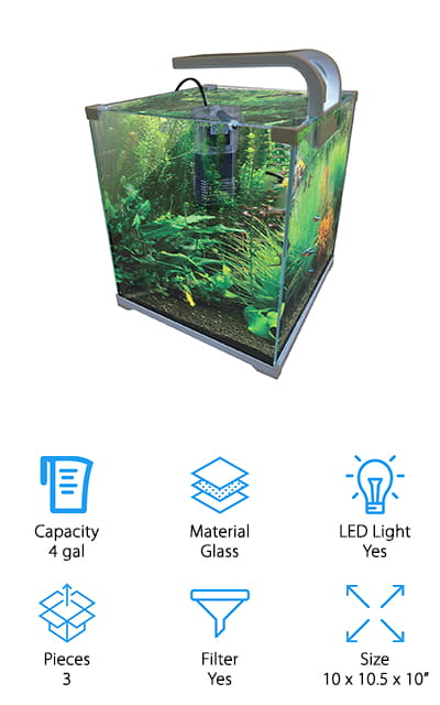 The Vepotek Fish tank is an exceptional fish tank for goldfish. It's made of tempered glass so it is less likely to crack or break. The pump and filter that it comes to perform very well while using the least amount of energy possible, so you can save money! There are 11 LEDs nestled in the hood with an on/off switch. These work extremely well and illuminate the whole 4-gallon tank. You can adjust the flow variables on the filter with a slider that requires no effort to change! The outlet swivels to help you obtain the perfect positioning in the aquarium so you get the most out of it. You can use the tank for both fresh water and salt water aquariums, and we love that versatility! You won't have to change out the tank if you want to switch from one to the other, only give it a thorough cleaning and you'll save some change!